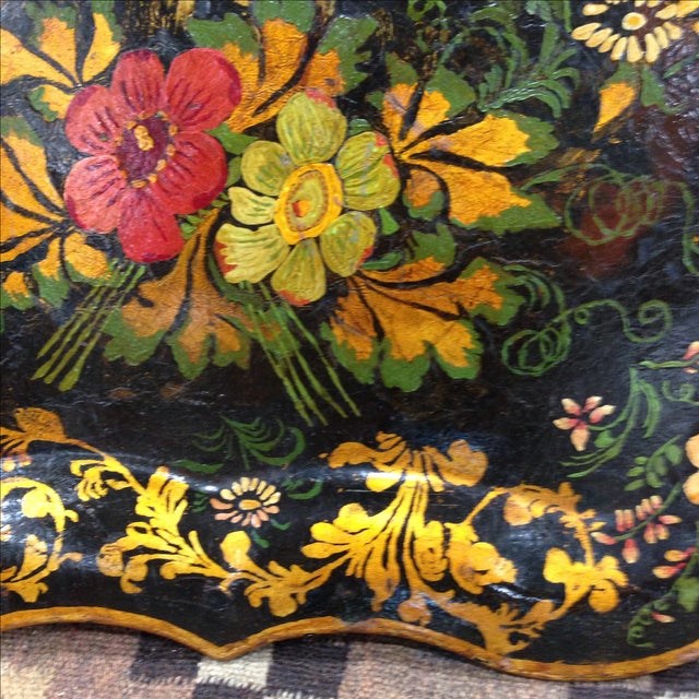 Antique Hand-Painted Tin Tray - Image 3 of 6
