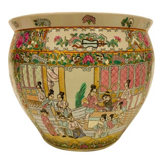 Vintage Chinese Famille Rose Canton Hand Painted Fishbowl Planter For Sale