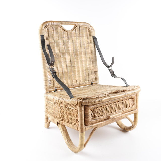 Vintage Wicker Picnic Basket Folding Chair For Sale - Image 13 of 13