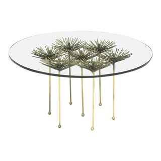 Small Brutalist Gilt Floral Table With Glass Top, 2017 For Sale