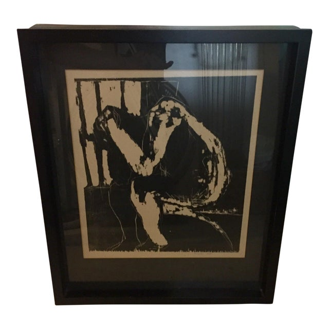 Male Nude Woodblock Print For Sale
