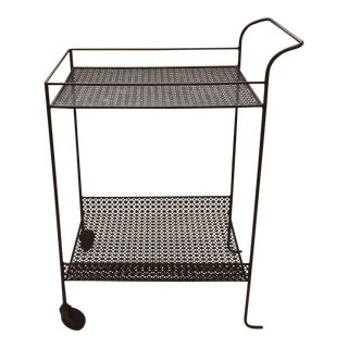 Vintage Modern Perforated Black Metal Tea Trolley / Bar Cart