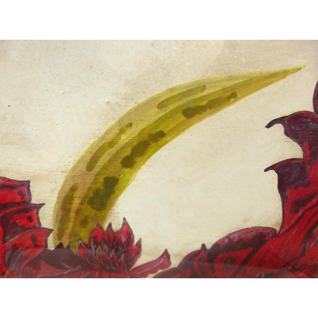 Vintage Red Tulip Flower Original Painting For Sale - Image 4 of 8
