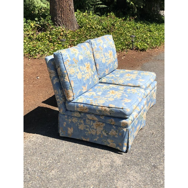 Beautiful pair of skirted slipper chairs from Pennsylvania House! The perfect blue and floral chinosire pattern for your...