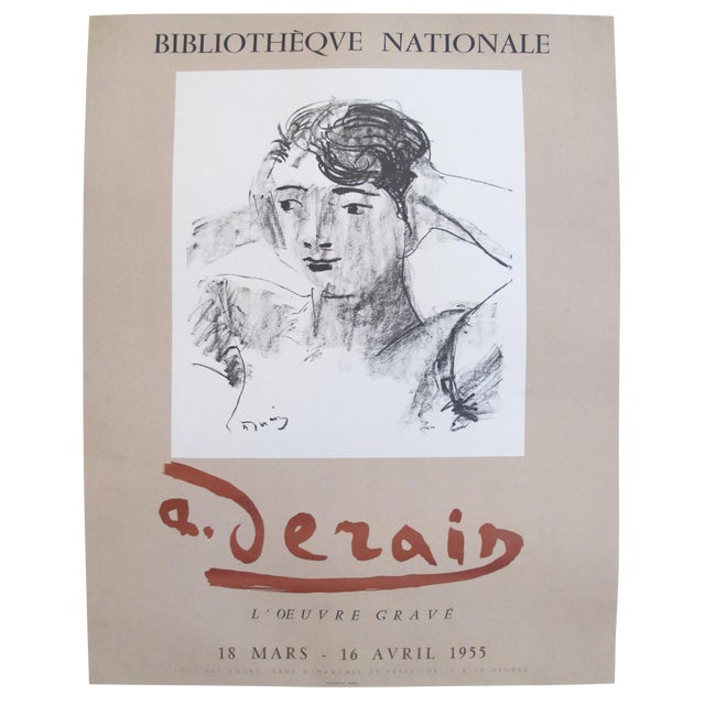 Original 1955 French Derain Exhibition Poster, Head and Shoulders of a Woman For Sale