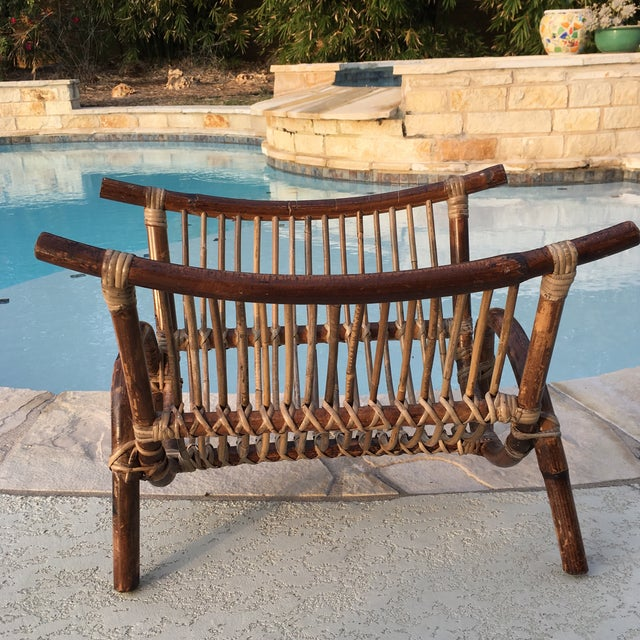 Brown Bentwood & Rattan Magazine Rack For Sale - Image 8 of 9
