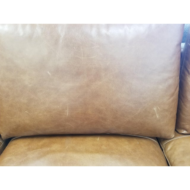 Wood Brown Leather U-Shaped Sectional Sofa For Sale - Image 7 of 8