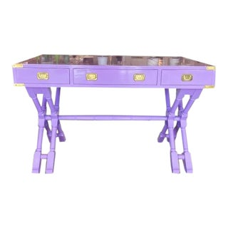 Vintage Campaign Purple Lacquer Writing Desk For Sale