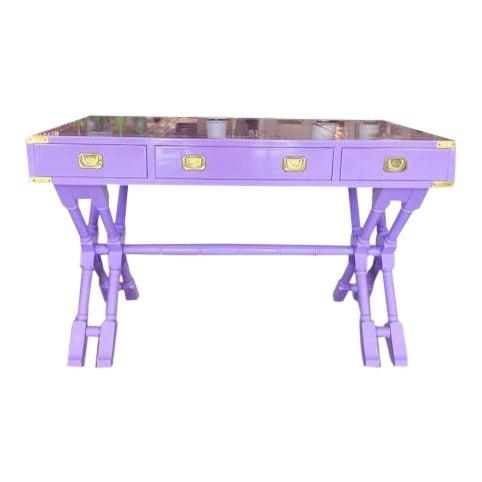Vintage Campaign Purple Lacquer Writing Desk For Sale