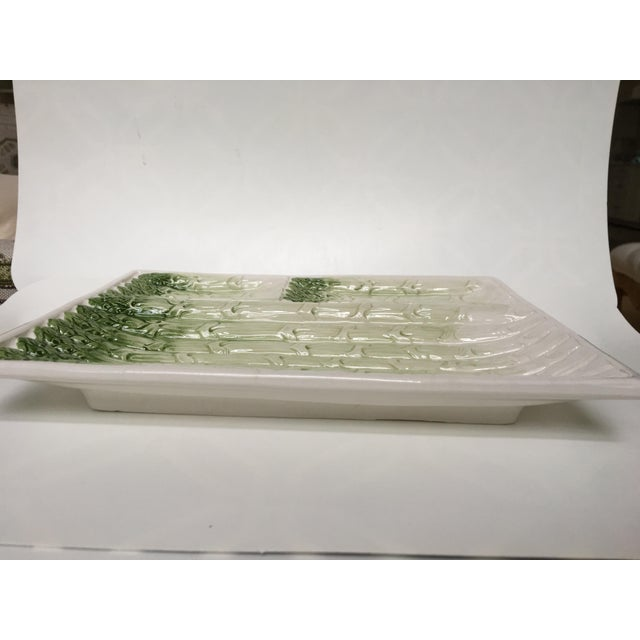 Ceramic Divided Ceramic Asparagus Tray in Green Tones From Portugal For Sale - Image 7 of 10