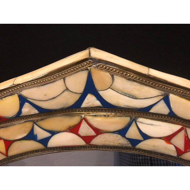 Moroccan White/Red & Blue Colored Bone Over Brass Frame Wall Mirror For Sale - Image 4 of 6