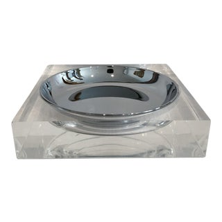 Vintage Lucite Square Bowl Catchall With Chrome Insert For Sale