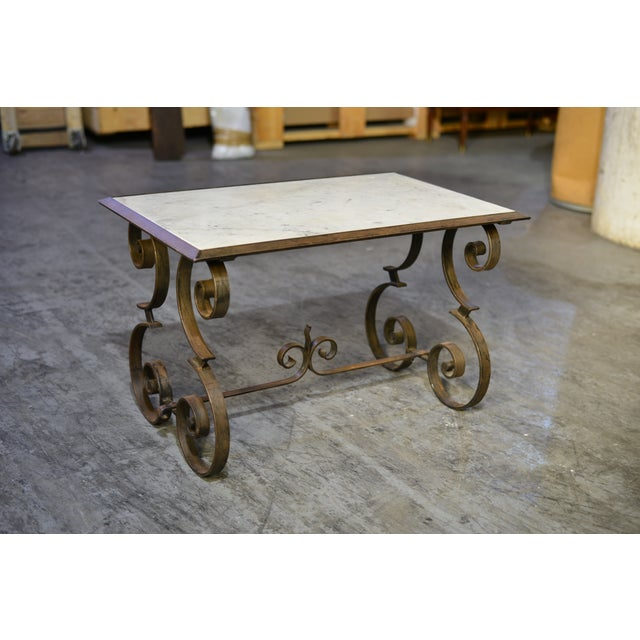 Iron Marble Top Coffee Table: French Iron & Marble Coffee Table