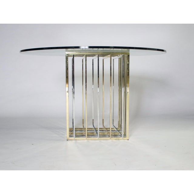Mid-Century Modern Pierre Cardin Mixed Chrome and Brass Grid Table For Sale - Image 3 of 10