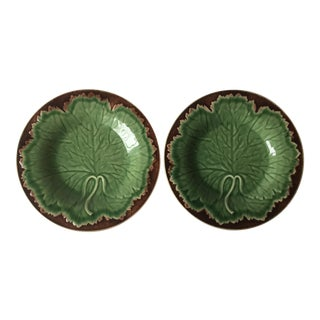Bordallo Pinheiro Majolica Leaf Dishes - a Pair