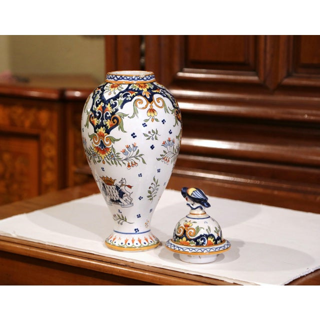 Late 19th Century 19th Century French Hand-Painted Ceramic Potiche and Lid From Rouen For Sale - Image 5 of 8