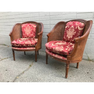 Antique French Napoleon III Caned Wood Bergere Chairs - a Pair Preview