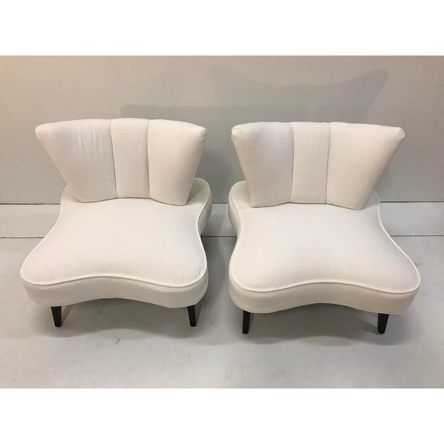 Stunning pair of arm less slipper chairs from 1930-40's re-upholstered in Designers Guild Varese white 100% cotton velvet....