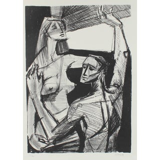 Jerry Opper Nude Couple by a Window, Stone Lithograph, Circa 1950 Circa 1950 For Sale