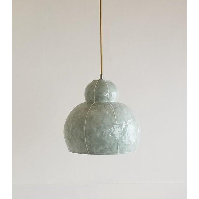 Ceramic Modern Handmade Celadon Ceramic Pendant Light For Sale - Image 7 of 7
