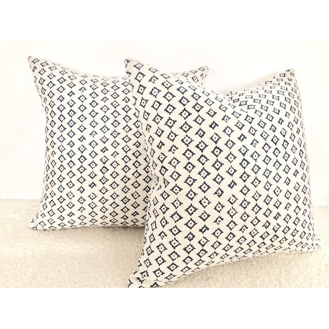 Not Yet Made - Made To Order Peter Dunham Kumbh Linen in Indigo/Natural Decorative Pillows - Pair For Sale - Image 5 of 5