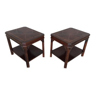 Lane Furniture Banded Mahogany Chippendale Style Side Tables - a Pair For Sale