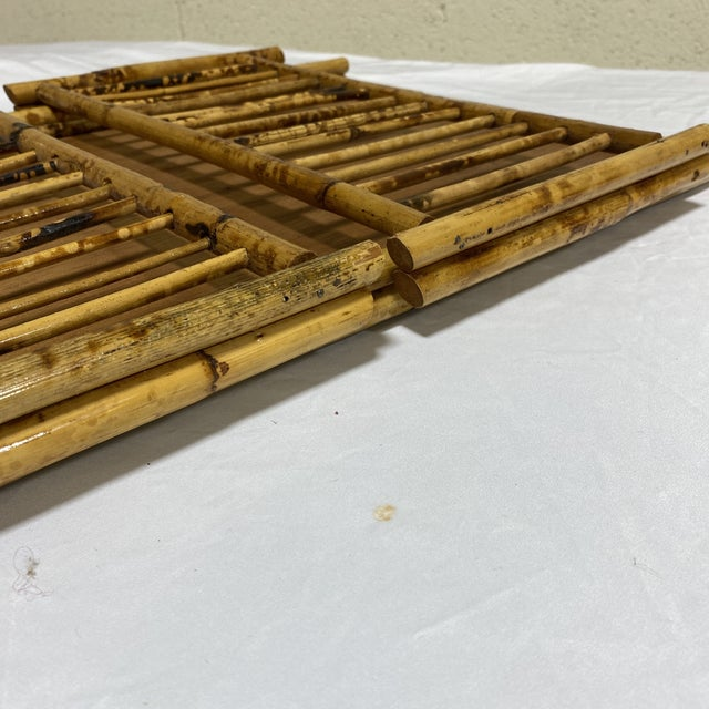 """Vintage Burnt Bamboo """"Breakfast"""" Tray Stand For Sale - Image 11 of 12"""