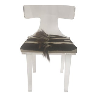 Lucite and Zebra Skin Chair