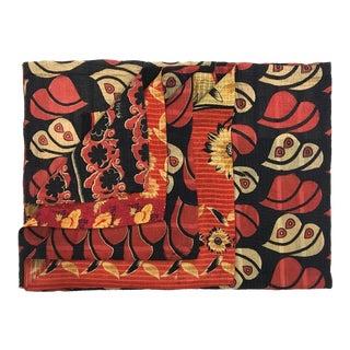 Black and Red Vintage Kantha Quilt For Sale