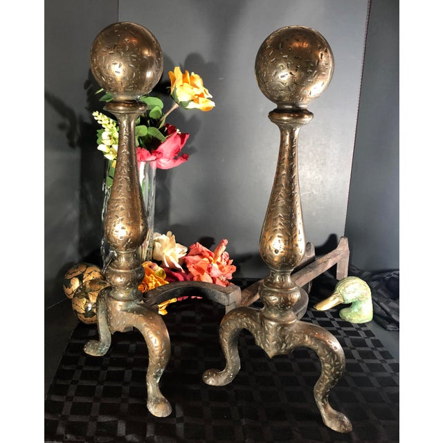 This is for an absolutely wonderful Pair of Antique Andirons / Dog Irons that are hand hammered brass with a cannon ball...