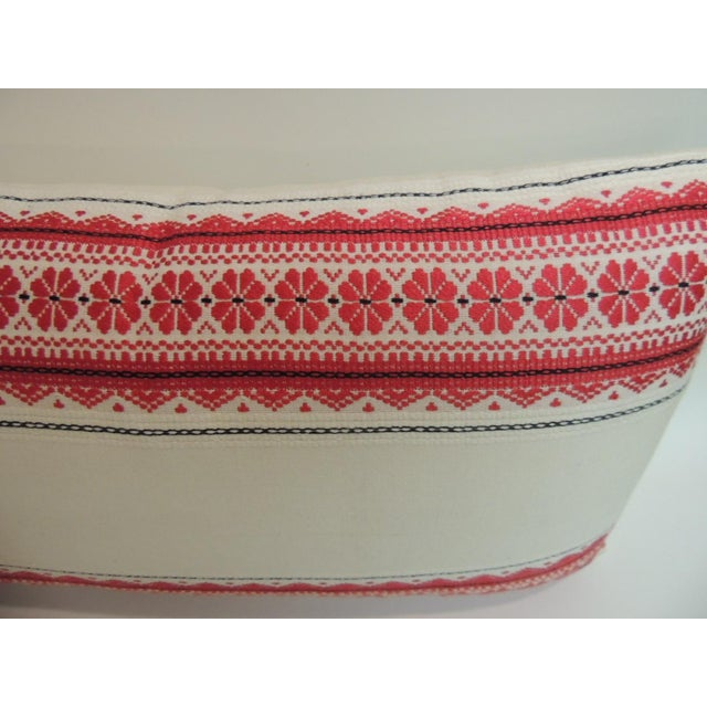 Boho Chic Vintage Ukrainian Woven Textile Bolster Boho Chic Style Decorative Pillow For Sale - Image 3 of 5