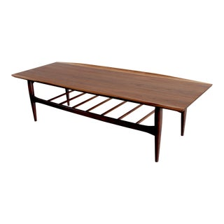 1960s Mid Century Modern Sculptural Walnut Surfboard Coffee Table With Magazine Rack