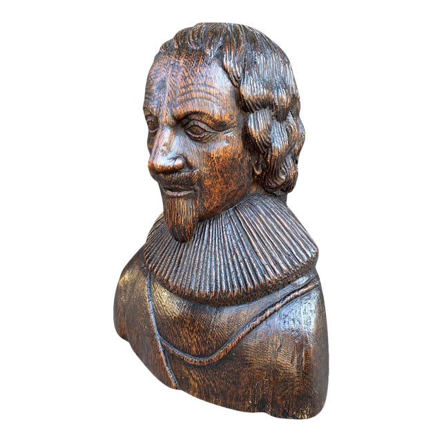 Carved Oak Bust of a Gentleman Possibly Charles I For Sale