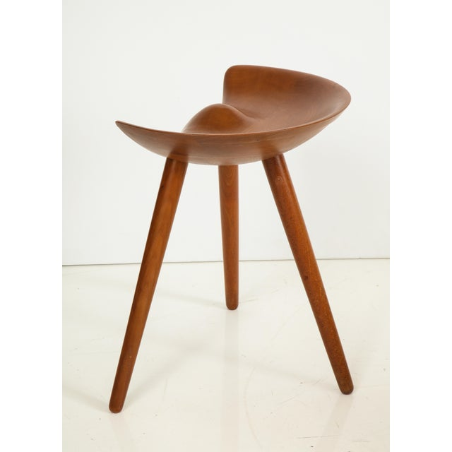 Contemporary Mogens Lassen Stool in Solid Teak For Sale - Image 3 of 12