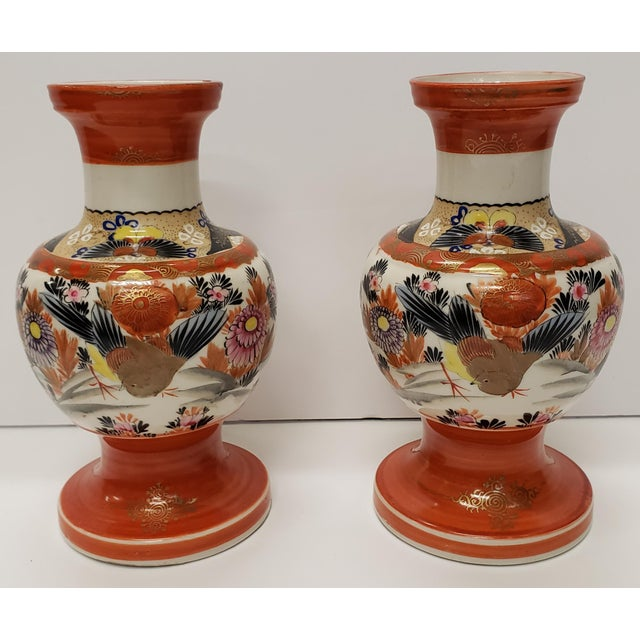 Ceramic Circa 1930 Japanese Kutani Porcelain Bird/Floral Motifs Footed Baluster Vases - a Pair For Sale - Image 7 of 7