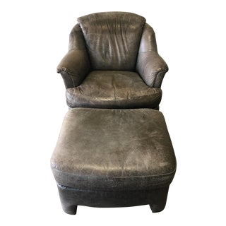 Pearson Distressed Leather Lounge Chair & Ottoman