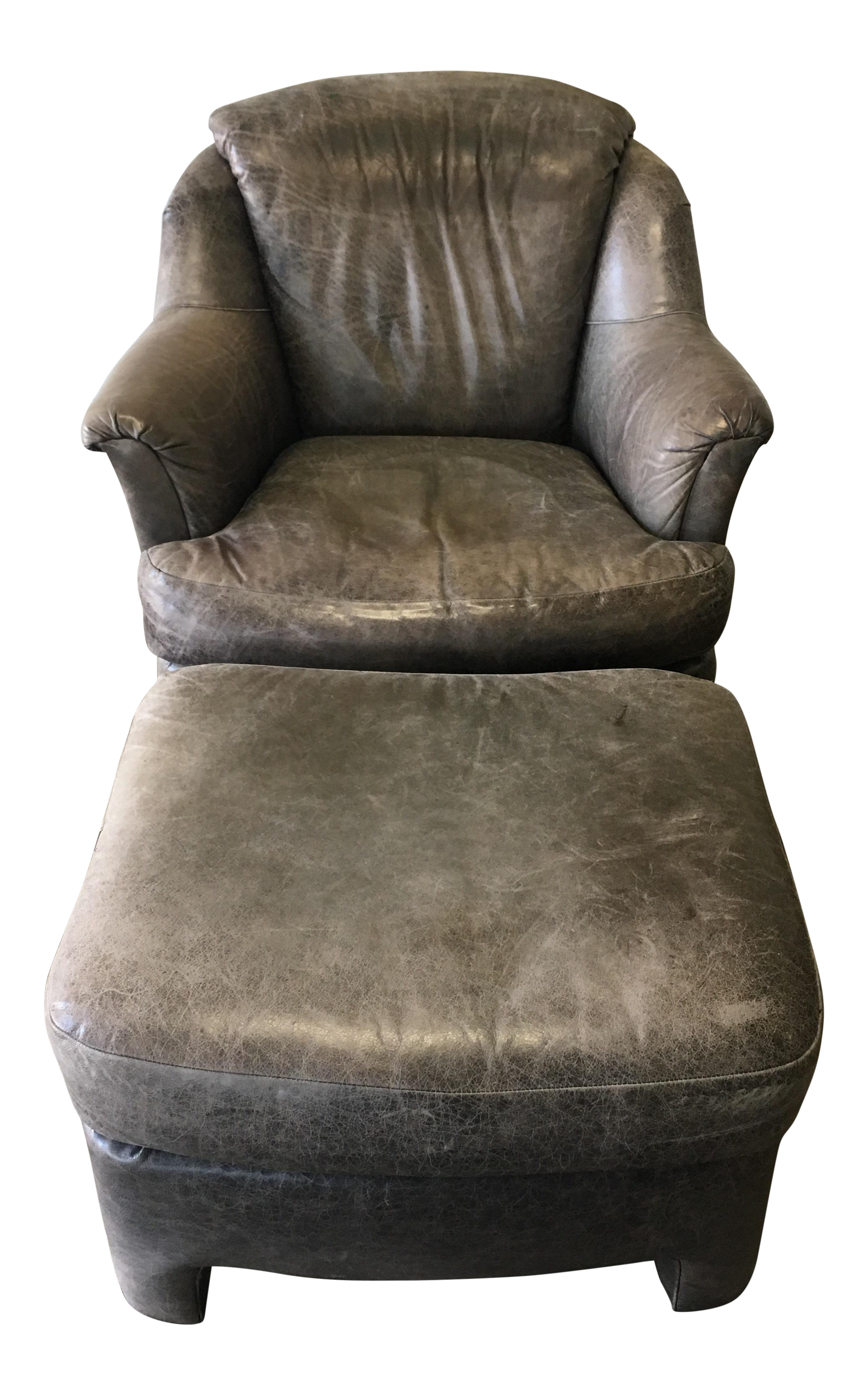Pearson Distressed Leather Lounge Chair U0026 Ottoman   Image 1 ...