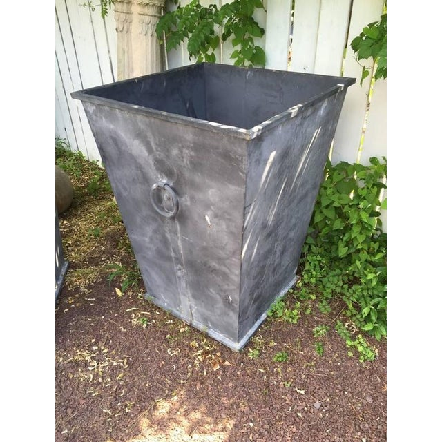 Country Style Steel Planters - A Pair For Sale - Image 4 of 4