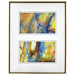 Mid-Century Modern Framed Abstract Encaustic Mixed-Media Diptych Signed L.Biro For Sale