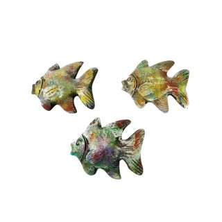 1980s Fired Clay Fish Wall Decor - Set of 3