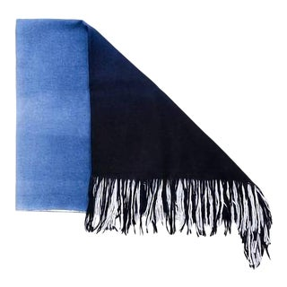 Boho Chic Azure White and Blue Throw For Sale