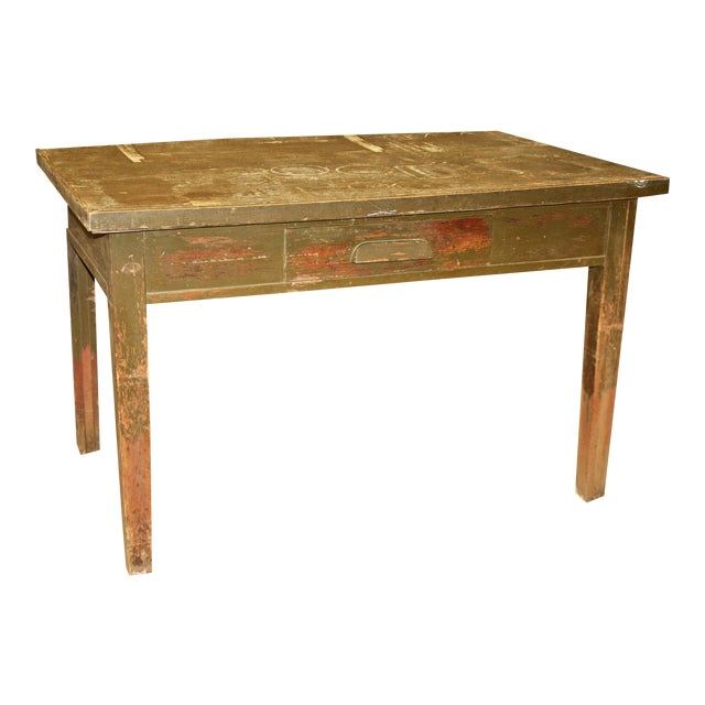 Vintage Industrial Wood Library Table - Image 1 of 11