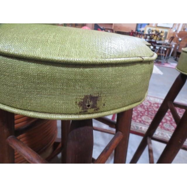 Vintage Rattan and Avocado Green Tiki Bar & 4 Bar Stools For Sale - Image 4 of 13