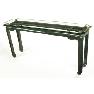 Heathered Green Ming Style Console Table With Beveled Glass Atop Brass Spheres Preview