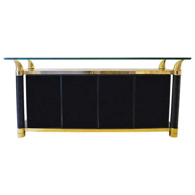 Black Lacquer Hollywood Regency Cabinet by Weiman - Image 1 of 6