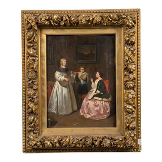 Antique Dutch Painting in Gold Leaf Frame For Sale
