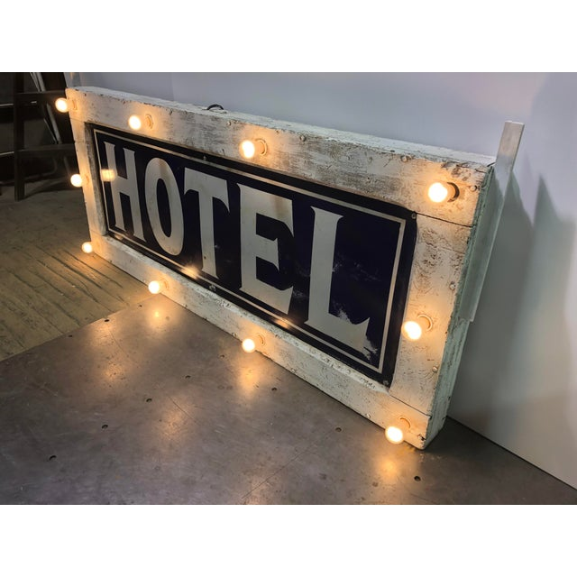 Traditional 1905 Light Up Double Sided Hotel Sign For Sale - Image 3 of 6