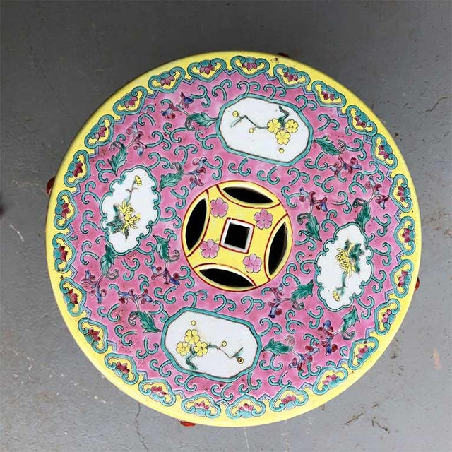 Famille rose bright colorful vintage ceramic garden seat, stool or occasional side table. This ceramic Famille rose pink...