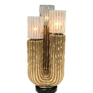 Vintage Gold Leafed Cactus Lamp