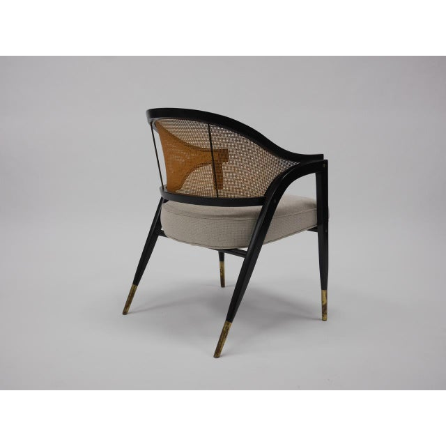 Mid-Century Modern Caned back occasional chairs by Edward Wormley for Dunbar For Sale - Image 3 of 11